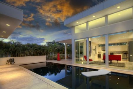 piscine de nuit - Light Box House par Jonathan Parks Architect - Lido Shores, Sarasota, Usa