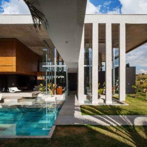 piscine & façade jardin - Botucatu-House par FGMF Arquitetos - Botucatu, Brésil