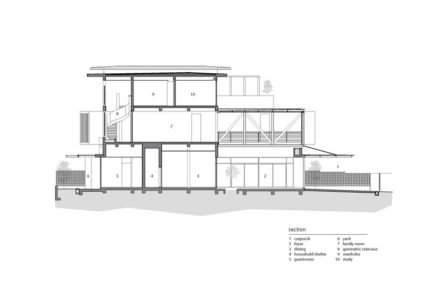 plan coupe 2D - maison exclusive par Aamer Architects - Singapour