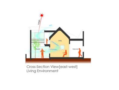 plan 2D site section - maison bois contemporaine par Masahiro Miyake - Tokushima, Japon
