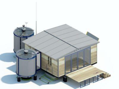 plan 3D - Maison démontable Jean_Prouve_6x6 par RSHP