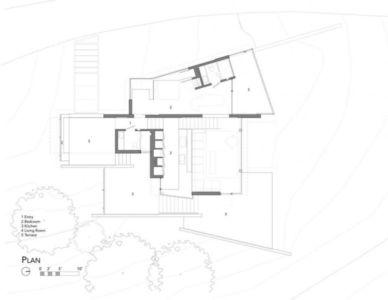 plan - Maison contemporaine béton par Cooper Joseph Studio - Sonoma, Usa