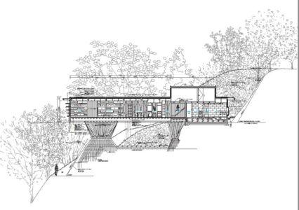 plan coupe - House In Itsuura par Life Style Koubou - Ibaraki Prefecture, Japon