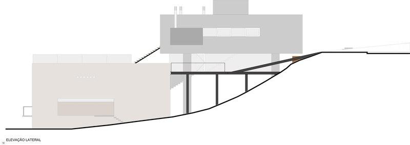plan coupe - LM Residence par Marcos Bertoldi Arquitetos - Campo Comprido, Brésil