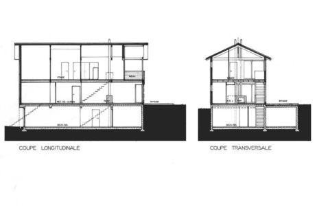 plan coupe - maison ossature bois par Eric Viprey, Cambiums - France