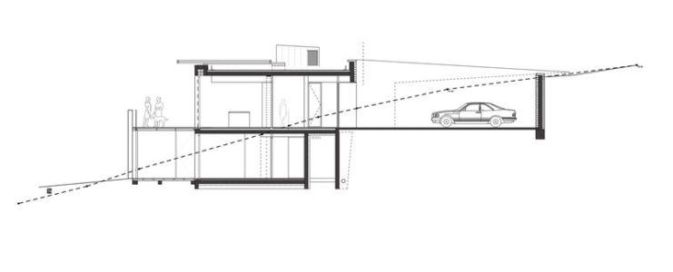 plan de coupe - Villa T  par Boyer Percheron Assus architecture - Saint-Gély-du-Fesc, France