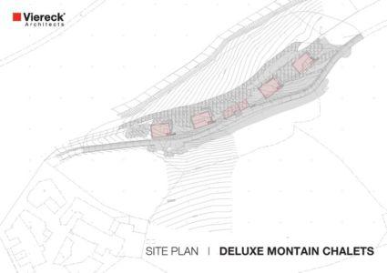 plan de masse - Deluxe Mountain Chalets par Viereck Architects - Styria, Autriche