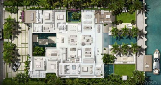 plan de masse - Gross-Flasz Residence par One d+b Miami - Harbor Island, Usa