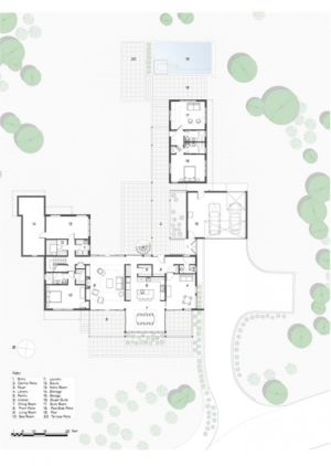 plan de masse - In-Out par Wnuk Spurlock Architecture - Stinson Beach, Californie, USA