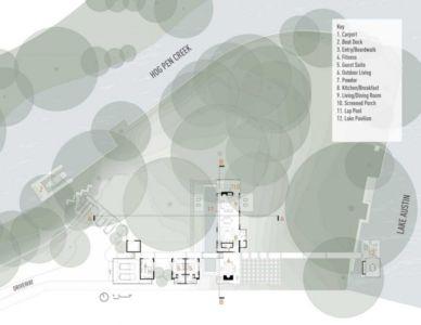 plan de masse - The Hog Pen Creek Residence par LakeFlato - Austin, Usa