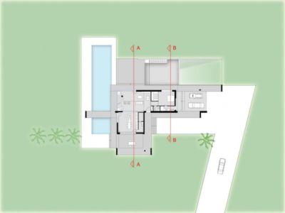 plan de masse - Villa T by Architrend Architecture - Ragusa, Sicile, Italie
