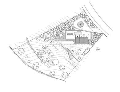 plan de masse - Villa T  par Boyer Percheron Assus architecture - Saint-Gély-du-Fesc, France