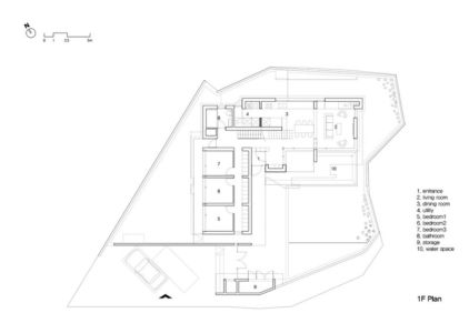 plan rdc - Woljam-ri House par JMY architects - Gyeongsangnam-do, Corée du Sud