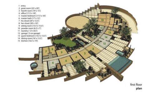 plan rez de chaussée - Sefcovic Residence par Tate Studio Architects - Usa