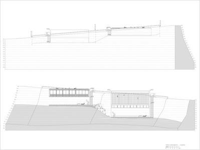 plan coupe - 2houses-de-moura par Eduardo Souto De Moura - Ponte de Lima, Portugal