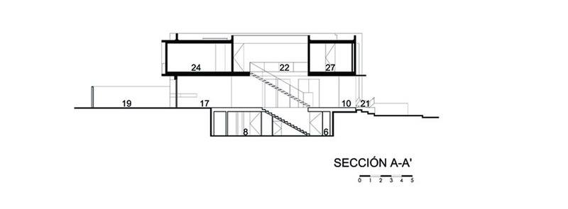 plan, vue transversale - V-House par Agraz Arquitectos - Puerta Plata, Mexique