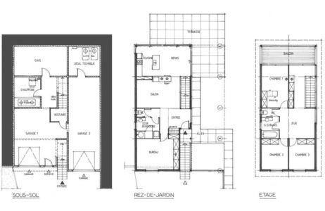 plans - maison ossature bois par Eric Viprey, Cambiums - France