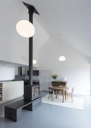 poêle à bois - Maison Simon par Bonnefous architectes - Vezet (70), France