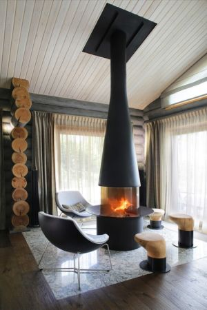 poêle à bois - Wooden Cottage par Elena Sherbakova près de Moscou, Russie