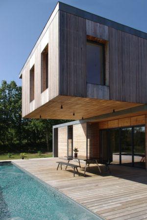 porte à faux sur terrasse - Maison l'Estelle par François Primault architecte - Moirax, France