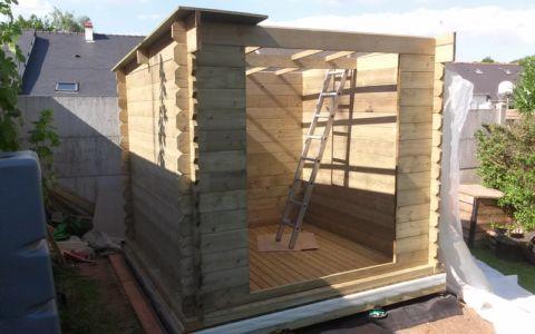 pose des panneaux de toiture - bureau jardin bioclimatique
