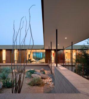 préau entrée - Levin Residence par Ibarra Rosano Design Architects - Marana, Usa
