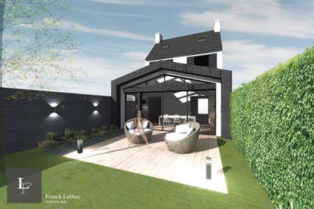 projet - extension bois d'une maison par Franck Labbay - Larmor-Plage - France