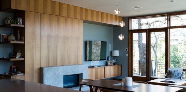 séjour & bibliothèque - 1980-Home par Dick Clark + Associates - Austin, USA