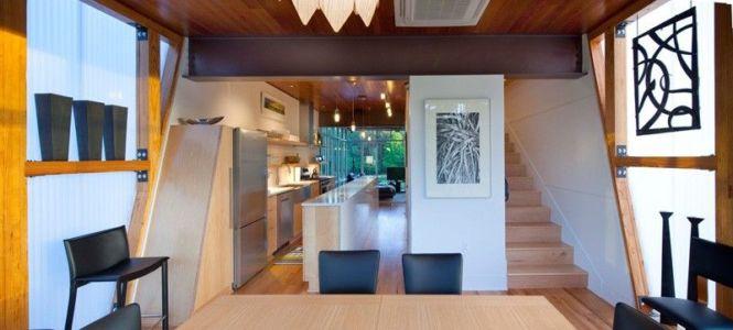 séjour & cuisine - Pond-House par Holly-Smith-&-Architectes - Louisiane, USA