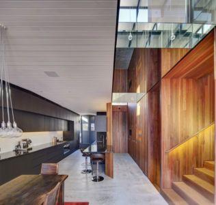 séjour - cuisine & décoration intérieur en lambris bois - spiegel-haus par Carterwilliamson Architectes - Sydney, Australie
