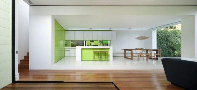 séjour & cuisine - white cube par Matt Gibson Architecture - Melbourne, Australie