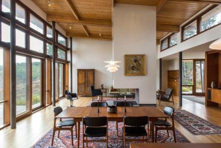 séjour et cheminée - Long Dune Residence par Hammer Architects - Truro, Usa