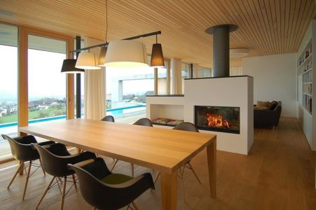 séjour et cheminée - Schaan Residence par K_M Architektur - Liechtenstein