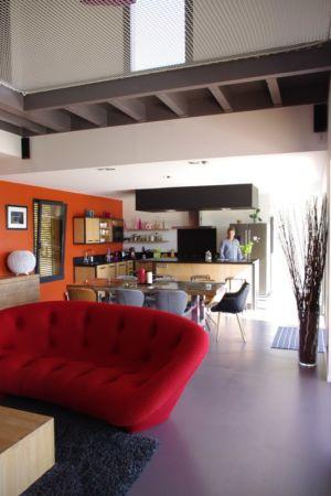 séjour et cuisine - Maison l'Estelle par François Primault architecte - Moirax, France