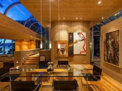 séjour et gallerie d'art - villa contemporaine en bois par Daniel Evan White - Saanich, Canada