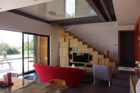 séjour et salon - Maison l'Estelle par François Primault architecte - Moirax, France
