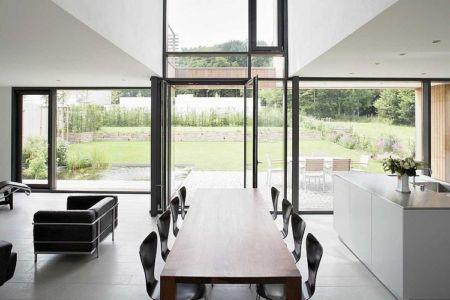 séjour et terrasse - Maisons bois contemporaines par Zamel Krug Architekten - Hagen, Allemagne
