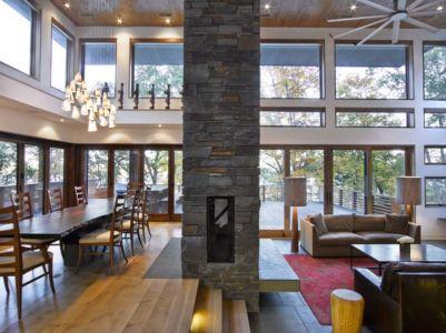 séjour salon et cheminée - RiverBanks par Foz Design - Saugerties, Usa