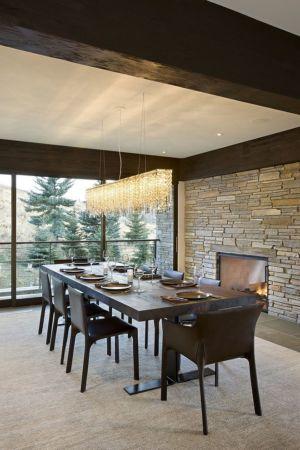 salle à manger - maison bois et pierre contemporaine - Sun Valley, Usa