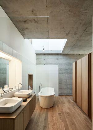 salle de bains - Maison Terrier par Bernard Quirot architecte + associés - Haute-Saône, France