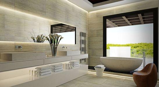 salle de bains en marbre - luxueuse villa par Ark Architects - San Roque, Espagne