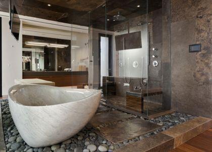 salle de bains et baignoire en marbre - Tresarca House par assemblageSTUDIO - Las Vegas, Nevada, Usa