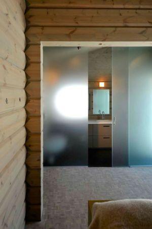 salle de bains & porte vitrée opaque - Cozy-Wooden-Cottage par JVA - Oppdal, Norvège