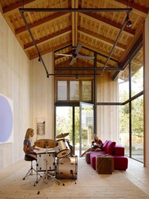 salle de loisirs - Mountain Wood Residence par Walker Warner Architects -Woodside, Usa