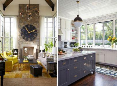 salle de séjour & cuisine - maison bois contemporaine par Architect - Nashville, USA