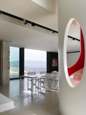 salle séjour & vue panoramique paysage - Casa Farfalla par Michel Boucquillon - Toscane, Italie