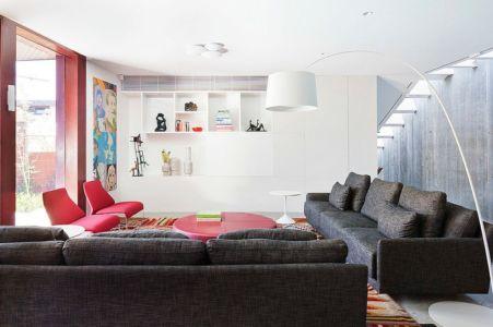salon - Maison contemporaine bois béton par BG Architecture - Melbourne, Australie