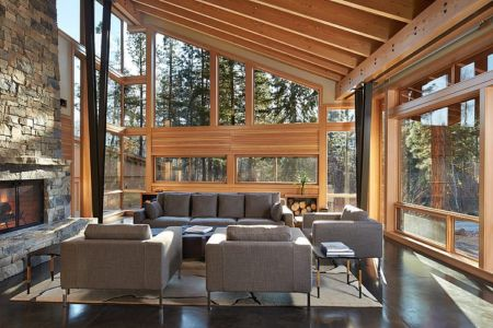 salon - Mazama House par FINNE Architects - Methow Valley, Usa