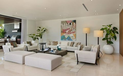 salon - Miami Beach Residence par New Stone Age - Miami Beach, Usa