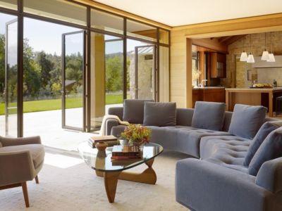 salon - Mountain Wood Residence par Walker Warner Architects -Woodside, Usa